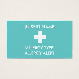 Cartão alerta da alergia ID/ICE