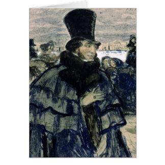 Cartão Alexander Pushkin na terraplenagem de Neva
