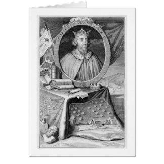 Cartão Alfred o grande (849-99) rei de Wessex, gravado