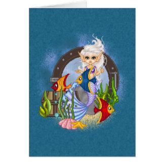 Cartão Algo arte duvidoso do pixel da sereia