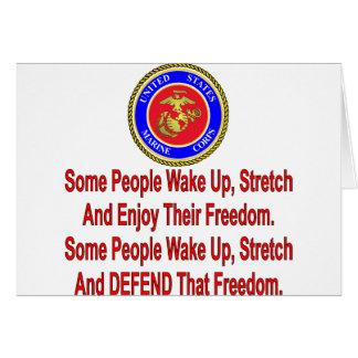 Cartão Algumas pessoas do USMC defendem essa liberdade