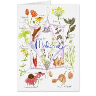Cartão Alho medicinal Notecard da papoila do Echinacea