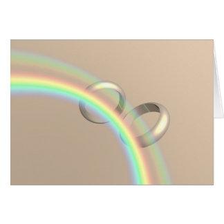Cartão Alianças de casamento do arco-íris