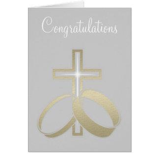 Cartão Alianças de casamento do ouro e presentes