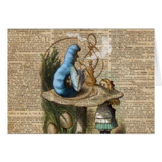 Cartão Alice, cogumelo e Jin, arte do dicionário do
