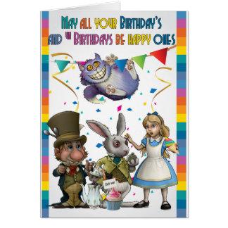 Cartão Alice e amigos, Hatter louco, gato de Cheshire,