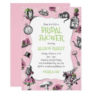 Cartão Alice no chá de panela cor-de-rosa e verde do país