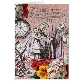 Cartão Alice no coelho louco do branco do Hatter do país