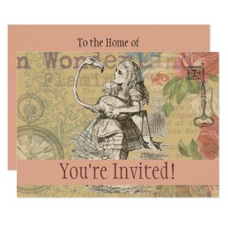 Cartão Alice no costume louco do tea party do flamingo do