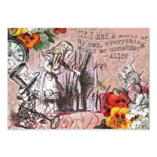 Cartão Alice no Hatter e no coelho do país das maravilhas