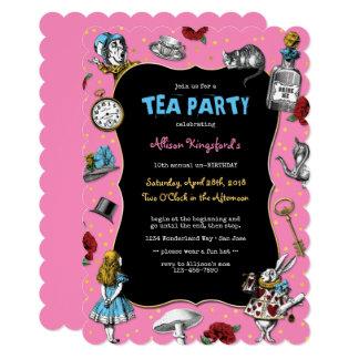Cartão Alice no tea party do rosa do país das maravilhas