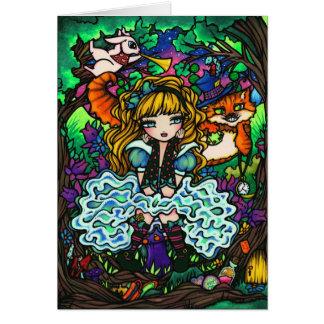 """Cartão """"Alice perdeu"""" Alice no gato de Cheshire do país"""