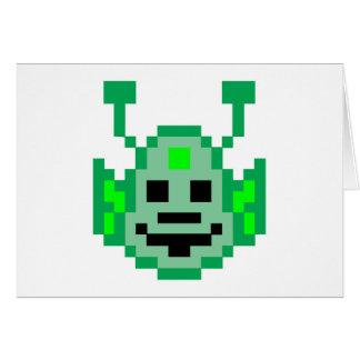 Cartão Alienígena de Marciano do pixel