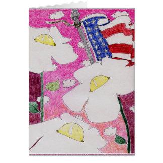 Cartão Alma alienada: Céu do rosa da bandeira de três