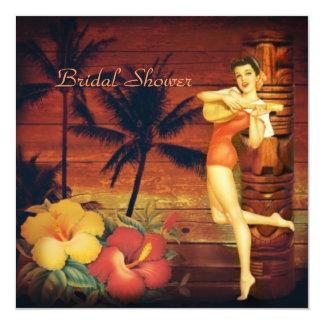 Cartão Aloha chá de panela retro da praia de Havaí da