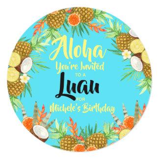 Cartão Aloha! Divertimento brilhante Luau