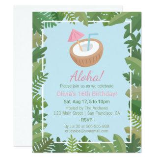Cartão Aloha festa de aniversário tropical das folhas do
