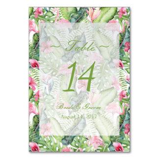 Cartão Aloha número tropical da mesa do casamento de