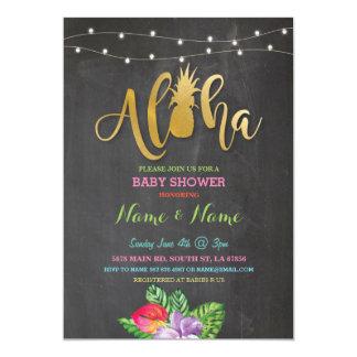 Cartão Aloha o menino da menina do abacaxi do chá de