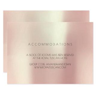 Cartão Alojamento em hotel metálico de seda do casamento