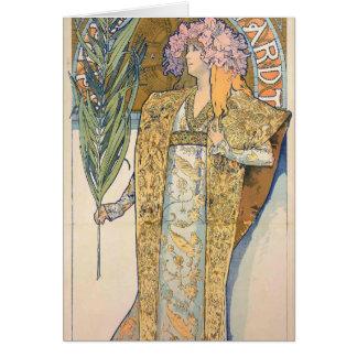 Cartão Alphonse Mucha - pintura de Sarah Bernhard