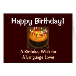Cartão Amante da língua do feliz aniversario