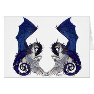 Cartão Amantes do unicórnio e do casamento do dragão