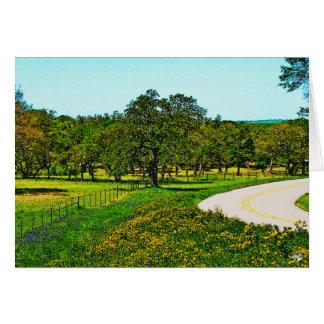 Cartão Amarele a estrada vestida de Robinson perto de