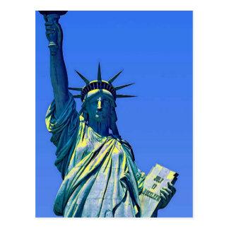 Cartão amarelo azul da estátua da liberdade