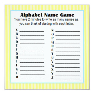 Cartão Amarelo & azul do BINGO do jogo do nome do