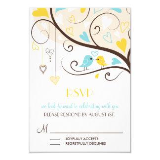 Cartão amarelo & azul dos Lovebirds RSVP do verão Convite 8.89 X 12.7cm
