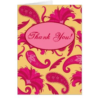 Cartão amarelo cor-de-rosa fúcsia do costume de