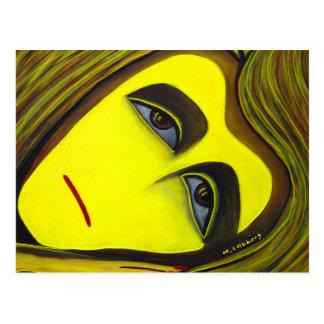 Cartão amarelo da arte abstracta da pintura