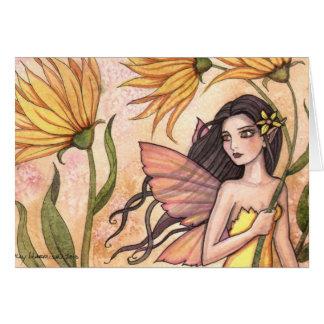 Cartão amarelo da fada do Wildflower