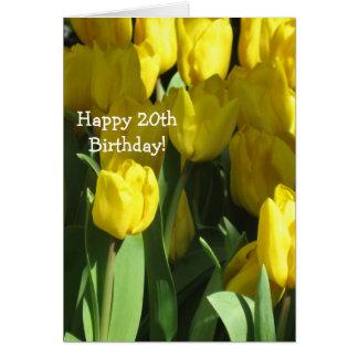 Cartão amarelo da tulipa do 20o aniversário feliz