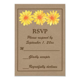 Cartão amarelo das margaridas/papel de embalagem convite 8.89 x 12.7cm