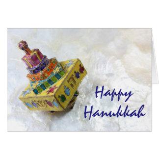 Cartão amarelo de Hanukkah do dreidel do cloisonne