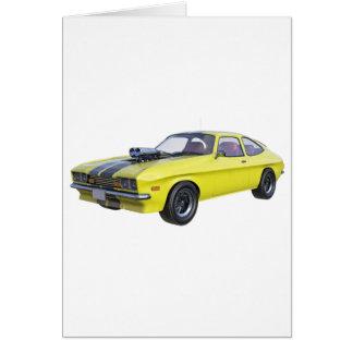 Cartão Amarelo do carro de 1970 músculos com listra preta