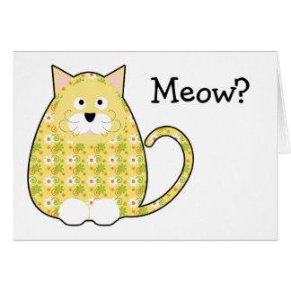 Cartão amarelo do gatinho floral da chita