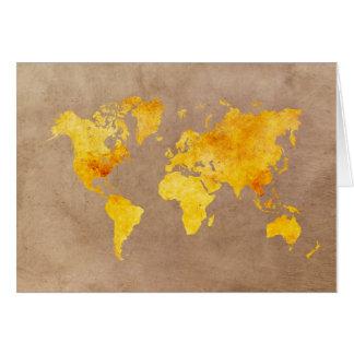 Cartão amarelo do mapa do mundo