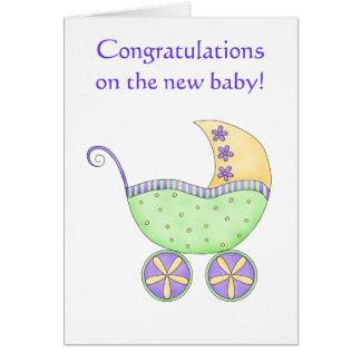 Cartão Amarelo do verde da carruagem do carrinho de bebê