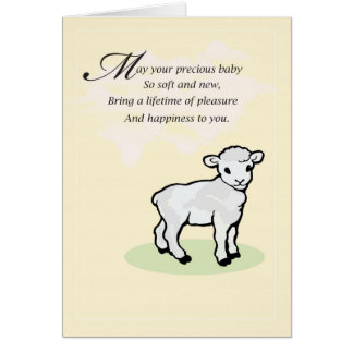 Cartão amarelo dos parabéns do bebê do cordeiro