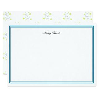 Cartão amarelo personalizado da lua & do papel de