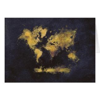 Cartão amarelo preto do mapa do mundo
