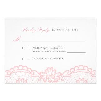 Cartão amável da resposta RSVP do laço cor-de-rosa