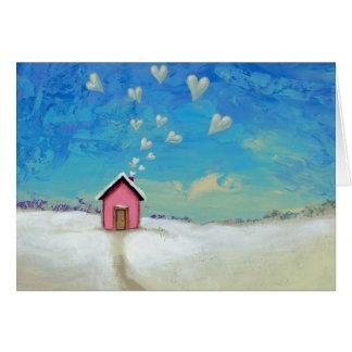 Cartão Ame a arte doce do divertimento da casa de campo