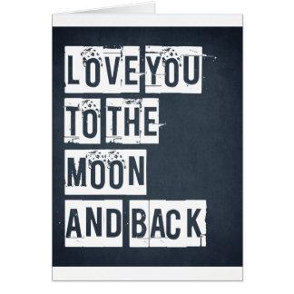 Cartão Ame-o à lua e à parte traseira