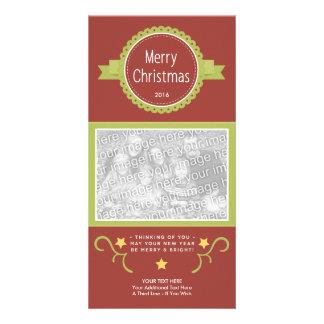 Cartão Americana-Modelo Cartão-Rústico da foto do Natal