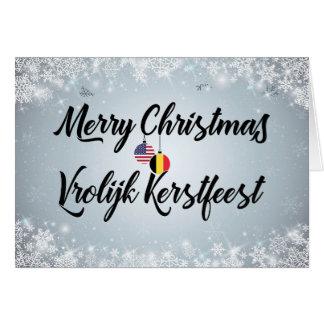 Cartão americano belga bilíngüe do Feliz Natal