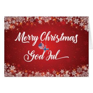 Cartão americano norueguês bilíngüe do Feliz Natal